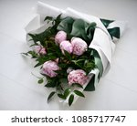 Bouquet Of Pink Peony Flowers...
