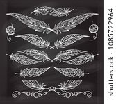 vector boho style feathers set... | Shutterstock .eps vector #1085722964