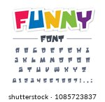 funny  cute  child font type.... | Shutterstock .eps vector #1085723837