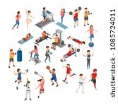 set of different sports ... | Shutterstock .eps vector #1085724011