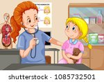 a girl checkup with doctor... | Shutterstock .eps vector #1085732501