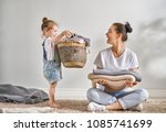 beautiful young woman and child ... | Shutterstock . vector #1085741699