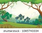 illustration of forest scene at ... | Shutterstock .eps vector #1085743334
