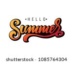 hand drawn inscription hello... | Shutterstock .eps vector #1085764304