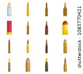 bullet gun military icons set.... | Shutterstock .eps vector #1085770421