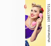 woman with phone  in pin up... | Shutterstock . vector #1085770721