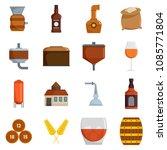 whisky bottle glass icons set.... | Shutterstock .eps vector #1085771804
