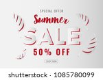 paper cut summer sale promotion ...   Shutterstock .eps vector #1085780099