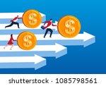 businessmen pushing gold coins... | Shutterstock .eps vector #1085798561