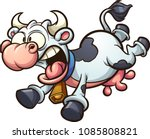 crazy cartoon cow running... | Shutterstock .eps vector #1085808821