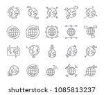 world map line icon set  global ... | Shutterstock .eps vector #1085813237