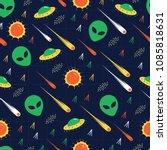 alien  ufo  comet invasion star ... | Shutterstock .eps vector #1085818631