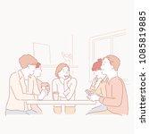 women and men talking with... | Shutterstock .eps vector #1085819885