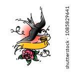 tattoo of a bird swallows... | Shutterstock .eps vector #1085829641