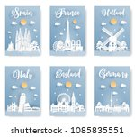 set of travel postcard and... | Shutterstock .eps vector #1085835551