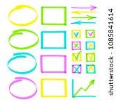 set of highlighter pen hand... | Shutterstock .eps vector #1085841614