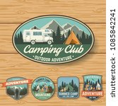 set of summer camp badges on... | Shutterstock .eps vector #1085842241