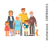 big family portrait isolated on ... | Shutterstock .eps vector #1085846411