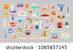 Big Set of vector travelling stickers. Landmarks of the World. Collection include, Turkey, the USA, Italy, France, Egypt, China, Spain, the UK, Australia, Brazil, Malta, Japan, South Africa and other.