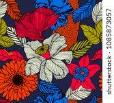 summer flowers on dark... | Shutterstock .eps vector #1085873057
