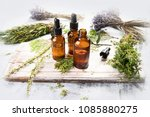 bottles with organic essential... | Shutterstock . vector #1085880275