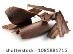 chocolate curls isolated on a... | Shutterstock . vector #1085881715