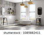 modern white brick bathroom... | Shutterstock . vector #1085882411