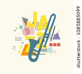 music colorful background with... | Shutterstock .eps vector #1085885099