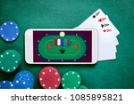 smartphone with poker table on... | Shutterstock . vector #1085895821