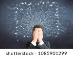 businessman covering face on... | Shutterstock . vector #1085901299