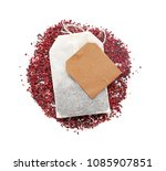 dry tea leaves with bag on... | Shutterstock . vector #1085907851