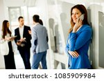 young business woman uses the... | Shutterstock . vector #1085909984