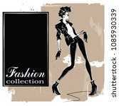 fashion woman in sketch style.... | Shutterstock .eps vector #1085930339