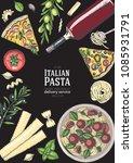 italian cuisine top view... | Shutterstock .eps vector #1085931791