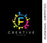 letter f logo with colorful... | Shutterstock .eps vector #1085937221