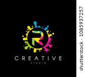 letter r logo with colorful... | Shutterstock .eps vector #1085937257
