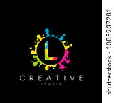 letter l logo with colorful... | Shutterstock .eps vector #1085937281