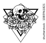 rose tattoo with skull.... | Shutterstock .eps vector #1085961821