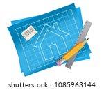 apartment house plan blueprint... | Shutterstock .eps vector #1085963144