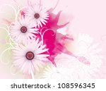 three daisies on a pink...