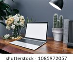 workspace mockup with computer. ... | Shutterstock . vector #1085972057