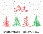 christmas tree set and falling... | Shutterstock .eps vector #1085973167
