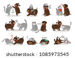 dog and cat together. funny dog ... | Shutterstock .eps vector #1085973545