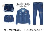 jeans clothing. trendy fashion... | Shutterstock .eps vector #1085973617