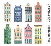 set of 8 amsterdam old houses... | Shutterstock .eps vector #1085982617