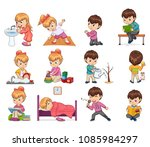 girl and boy collection with... | Shutterstock .eps vector #1085984297