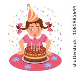 girl blows out candles on the... | Shutterstock .eps vector #1085985644