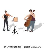 young girs violinist and... | Shutterstock .eps vector #1085986109
