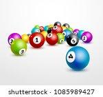 bingo lottery balls numbers... | Shutterstock .eps vector #1085989427