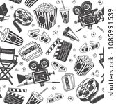 seamless pattern with cinema... | Shutterstock .eps vector #1085991539